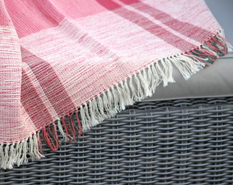 Pink Checked Cotton Woven Runner/Throw