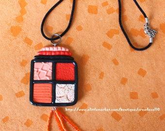 Black and orange - Choker design pendant