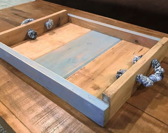 Blue Rustic Wooden Tray