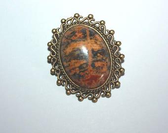 """Gemstone cabochon brooch"" Baroque retro ""leopard Jasper"