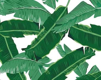 Banana Leaf Art, Banana Leaves, Green and White, Banana Leaf Print