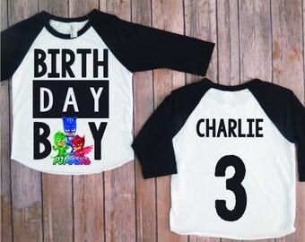 PJ mask birthday shirt, pj masks personalized shirt, pj mask custom birthday shirt, catboy shirt, owlette shirt, gekko shirt, kids birthday