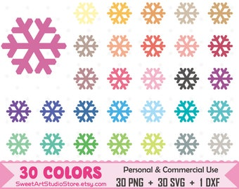 Snowflake Clipart, Winter planner SVG Silhouette Cricut Cut File Commercial Use (Png Svg Dxf)