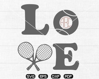 LOVE Tennis SVG Files, Tennis Monogram Frame svg, Tennis Clipart, cricut, cameo, silhouette cut files commercial &  personal use