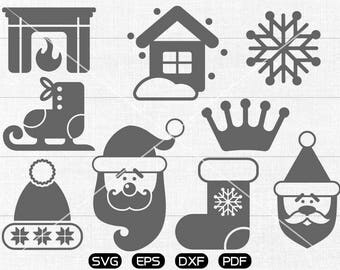 Masonry Heater Clipart, Santa Claus SVG, Snowhouse, snowflake, Sled, Christmas stocking SVG, cricut, silhouette cut files commercial use