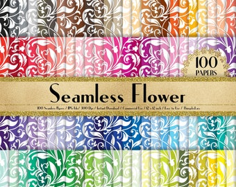 "100 Seamless Flower Papers in 12"" x 12"", 300 Dpi Planner Paper, Commercial Use, Scrapbook Papers, Rainbow Paper, 100 Flower Papers"