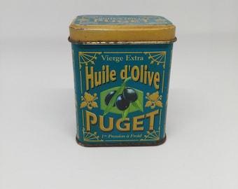 Old box metal advertising Puget olive oil