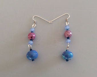 Blue Dangle, Earrings, Gift for Her, Handmade clay beads, Silver Plated, Handmade ear wires, Glass Beads, Seed Beads