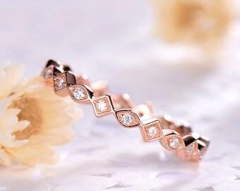 Rose Gold CZ Diamond Wedding Band 14k 18k 925 Sterling Silver Cubic Zirconia Full Eternity Art Deco Women Engagement Ring Bridal Stacking