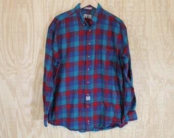 Vintage Soft Cotton Flannel Bill Blass Red / Blue Tartan Plaid Button Down Shirt Large Tall