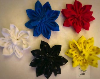 5 pack fabric flower clips or headband