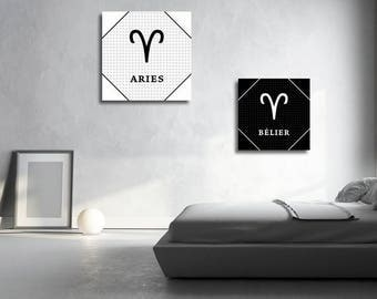 2 french Aries zodiac sign Astrology English instant download 5 X 5 8 X 8 10 X 10 12 X 12 15 X 15 16 X 16 18 X 18 20 X 20 30 X 30 50 X 50