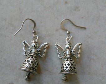 Earrings with silver plated Angel