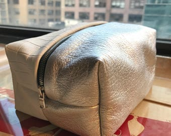 Super Silver Haze - Silver and White Python Embossed Leather Stash Bag