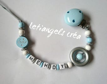Pacifier wooden models Angel, light blue, white and silver