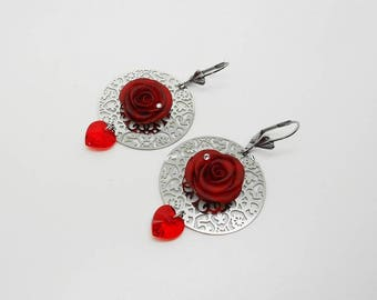 wedding: prints and swarovski hearts red pink earrings