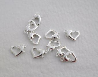 2 hearts for bracelet necklace clasps.