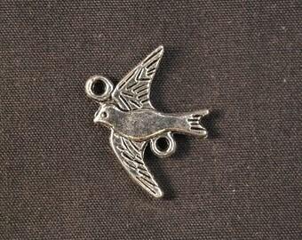 Silver bird connector charms