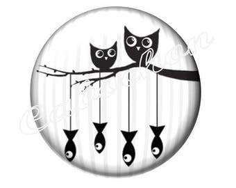 4 cabochons 16mm glass, cabochon OWL fish owl silhouette, black and white tone