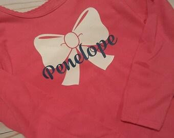 Custom Girl Bow Name Shirt/Birthday Daily Shirt/Cute Preppy Girl Shirt/Vinyl Girl shirt/Glitter Girl Name Shirt/Pink Girl Shirts