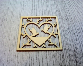 heart 1150 and doves in wood for your creations
