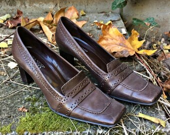 Dark Brown Leather High Heels / Leather High Heels / Square Toe Leather Heels / Leather High Heels / Brown Leather Pumps - Size 7 1/2