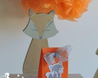 10 boxes dragees orange - grey Fox and gray Ribbon