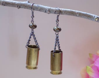 45 Caliber Brass Bullet Earrings