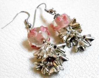 Silver metal bead and Lampwork bead earrings