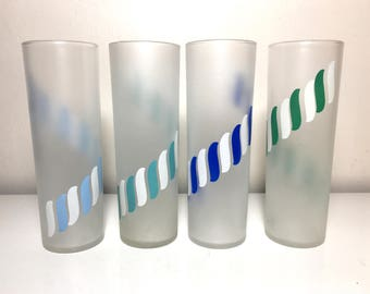 Vintage Blue and Green Accented Frosted Libbey Tumblers - Set of 4