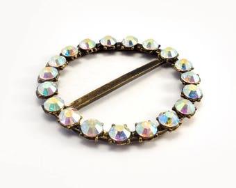 Belt buckle round antique gold metal with Rhinestones