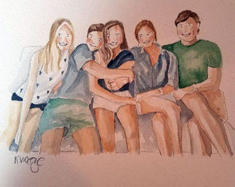 Whimsical Watercolor Family Portraits