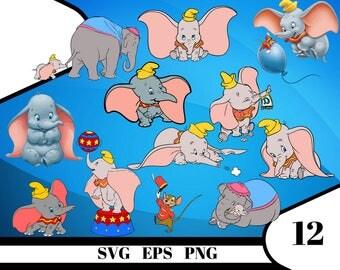 12 Dumbo Clipart – (svg, eps, dxf , png) Digital 300 PPI PNG, Vectorial images, Photos, Scrapbook, Digital, Cliparts, Decoration