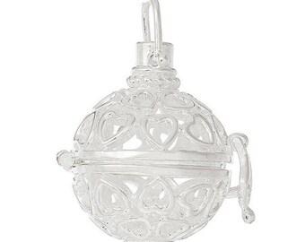 x 1 pendentif cage de Bali Bola Mexicain  motif coeur ajouré pour bille d'Harmonie Bébé argenté 3,5 x 2,8 cm R