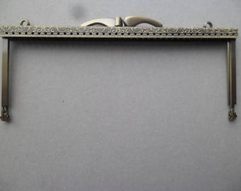 x 1 large lobster claps rectangle vintage/retro pattern for purse sewing bronze 19 x 8.5 cm