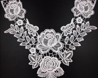 x 1 lace collar applique coloured floral sewing 32 x 31 cm @63