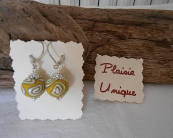 Yellow grey white spiral earrings
