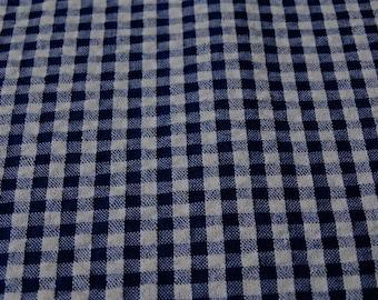 Navy Blue seersucker gingham fabric, embossed