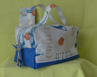 "Vanity toiletries or makeup or lunch bag fabric ""sea"" and blue faux with matching case"
