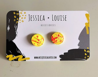 Neon Yellow & Pink Paint Spattered Clay Studs / Yellow and Pink Studs / Handmade Earrings / Resin Paint Spatter Studs