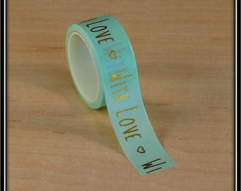 """Washi tape """"with love"""" with foil gold on mint Green 15mm x 3 m"""
