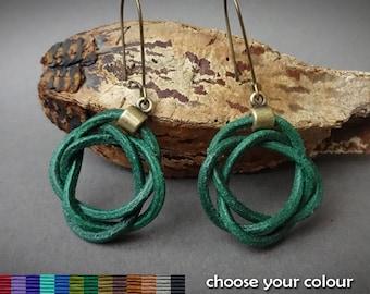 Green celtic leather earrings, celtic knot earrings, green earrings