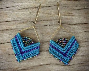 macrame earrings, beaded earrings
