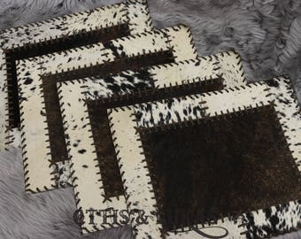 Cowhide Patchwork Placemats Set of 4 Rectangular For Dining Table 1'5 ft x 1'2 ft