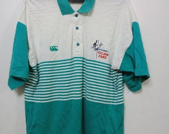 Vtg 90's CANTERBURY Polo T shirt 100 Cotton Medium Size Made in New Zealand With Nice Used Condition