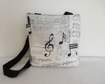 """Bag shoulder and music zipped cotton """"Music"""" and lined in white cotton"""