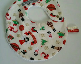 Small off-white Christmas bib with snap