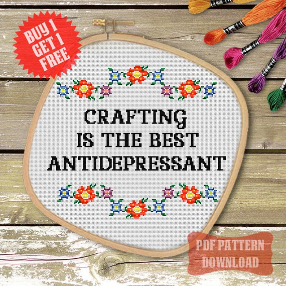 Funny cross stitch pattern modern quote