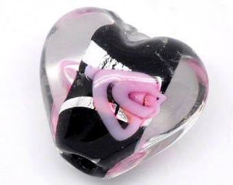 Pink and black lampwork glass bead, heart shape
