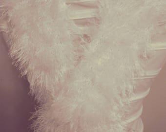 Knitting White  Scarf  So Fluffy